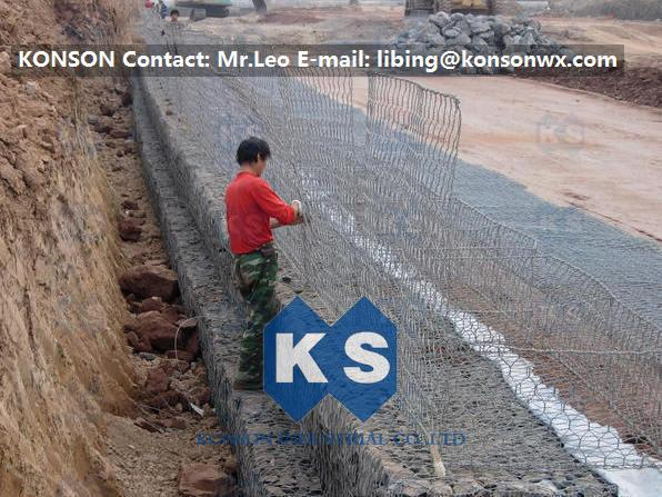 Galvanized Gabion Box Of Twisted Hexagonal Wire Mesh , Galfan Coated Gabion Basket