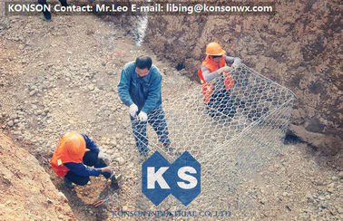 चीन Galvanized Gabion Box Of Twisted Hexagonal Wire Mesh , Galfan Coated Gabion Basket आपूर्तिकर्ता