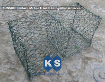 Hexagonal Mesh PVC Gabions , Welded Coated Galvanized Gabion Baskets